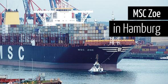 MSC Zoe verlässt den Hamburger Hafen
